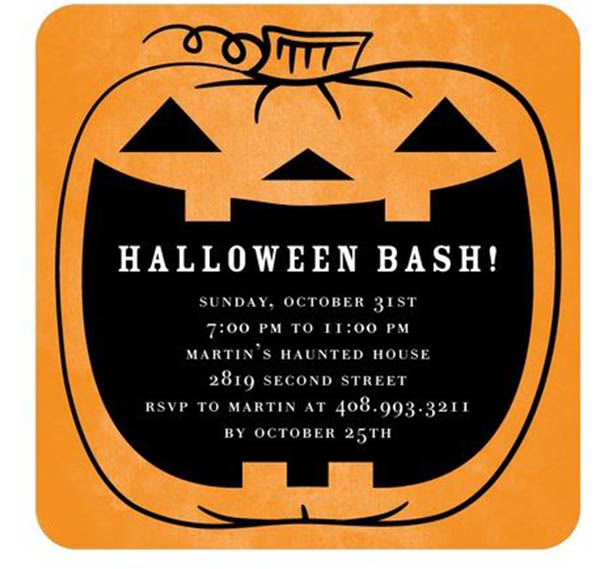 Love this Halloween Bash Pumpkin Invite!