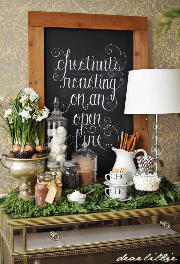 Amazing Hot Chocolate Bar Set up. Love the chalkboard sign!