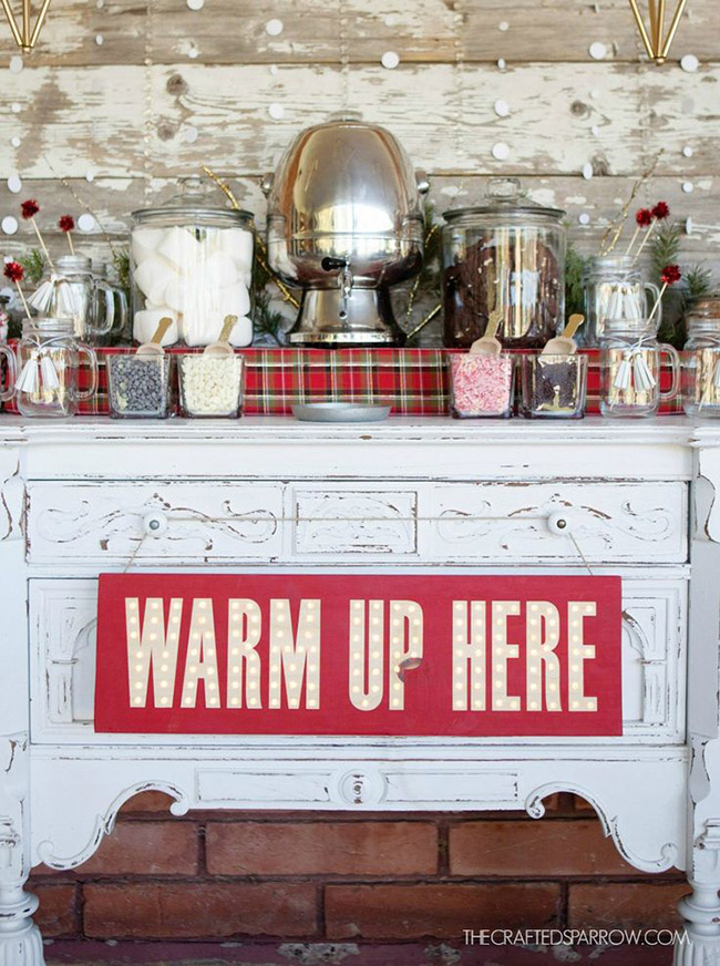 Lovely Hot Cocoa bar set up! Live the plaid!