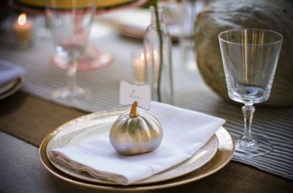 Luxe Pumpkin place card for Thanksgiving!