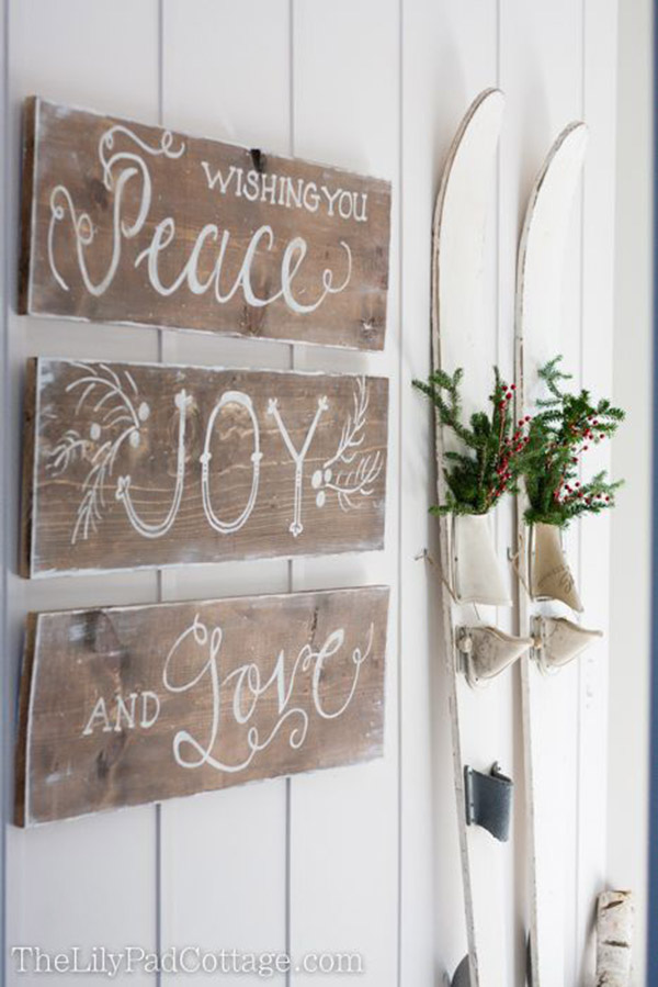 Rustic Christmas Peace Joy And Love Sign- LOVE!