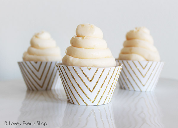 Gold Chevron Cupcake Wrappers- B. Lovely Events