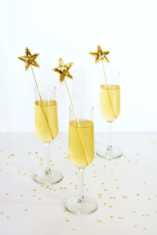 Gold Sequin Star Drink Stirrers!