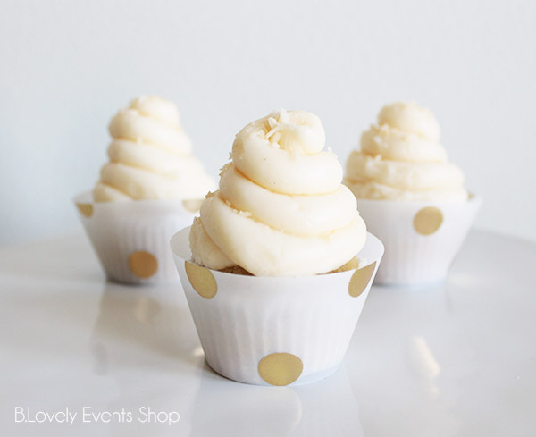 Large Gold Polka Dot Cupcake Wrappers- B. Lovely Events