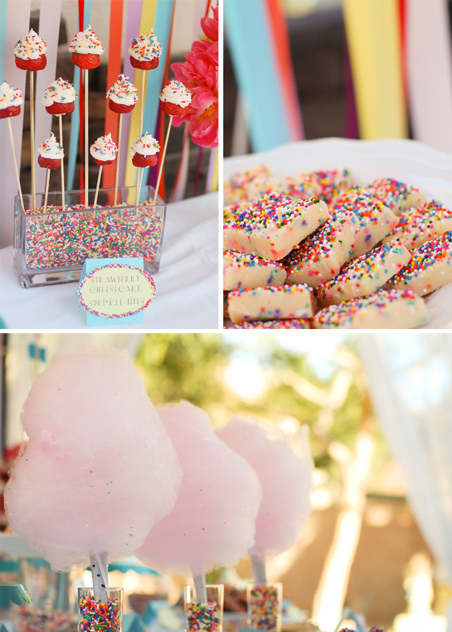 Lovely Sprinkle Party Decorations- Love filling vases with sprinkles, so fun!