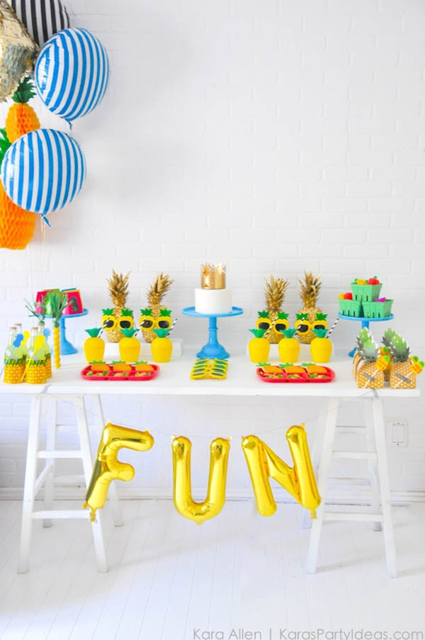 Fun and colorful pineapple party! - See more amazing party trends for 2016 at B. Lovely Events!