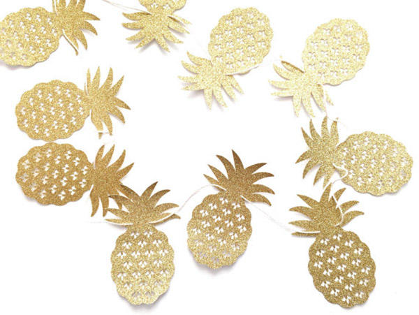 Gold Glitter Pineapple Banner!- - See More Lovely Pineapple Party Ideas At B. Lovely Events!