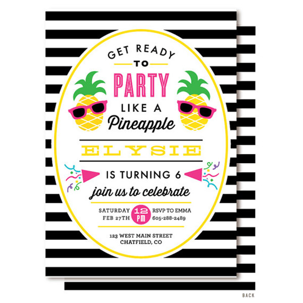 Striped Pineapple party invitations! - See More Lovely Pineapple Party Ideas At B. Lovely Events!