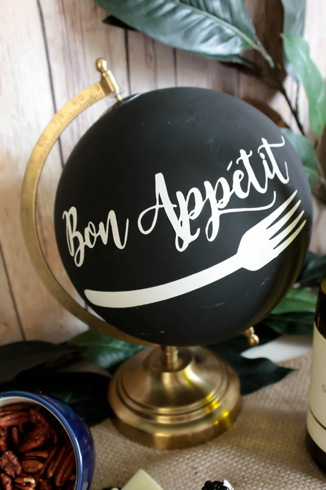 Bon Appetit Chalkboard Globe For Wine Night- B. Lovely Events