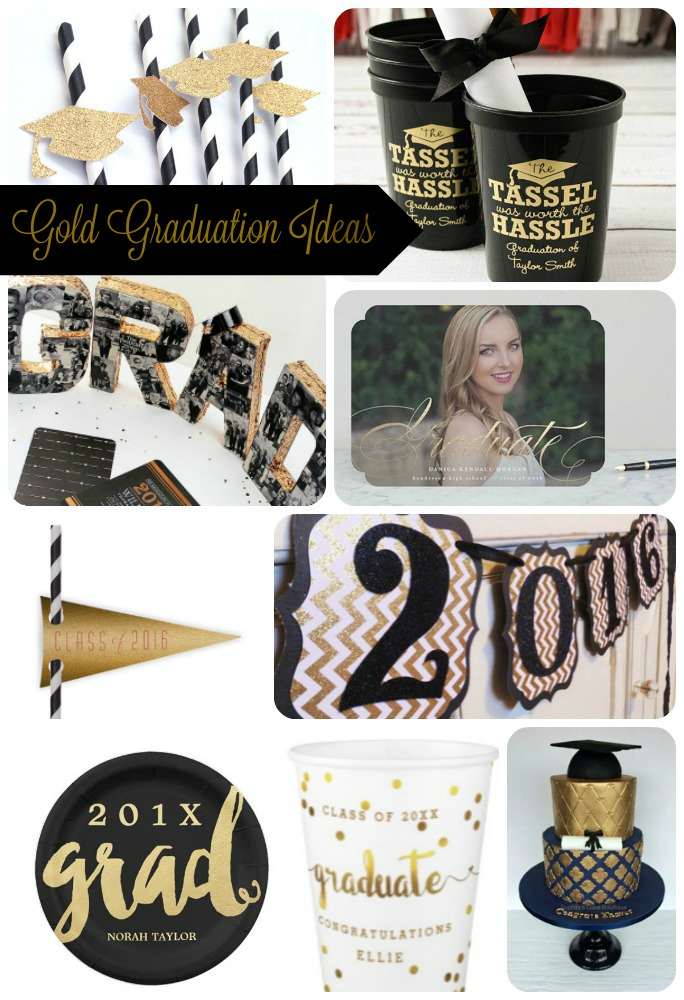 Gold Graduation Ideas- See this awesome round up of Gold Graduation ideas on B. Lovely Events