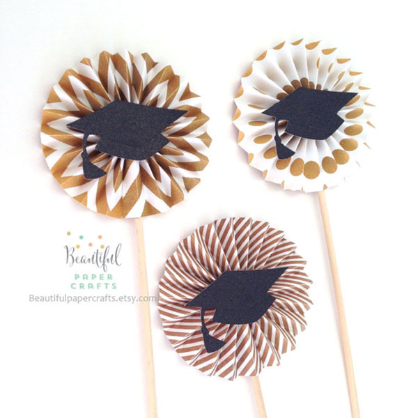 Gold graduation paper rosettes decorations- See More Gold Graduation Ideas on B. Lovely Events
