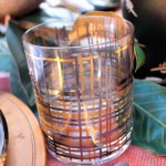 Gold and copper Plaid Glasses- Perfect For An Rustic Outdoor Tablescape! - See More Woodsy Tablescape Details On B. Lovely Events
