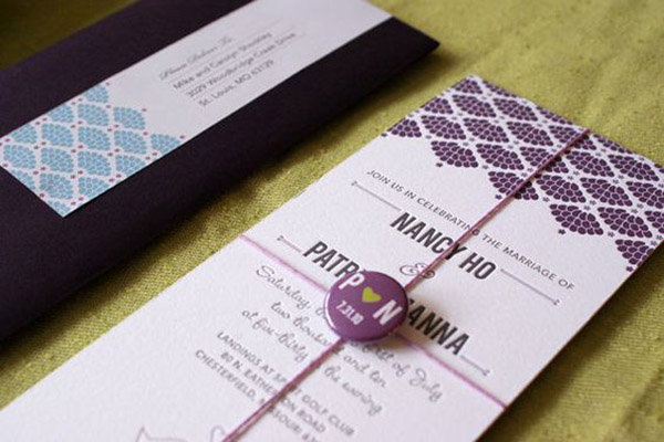 wedding invitations with buttons