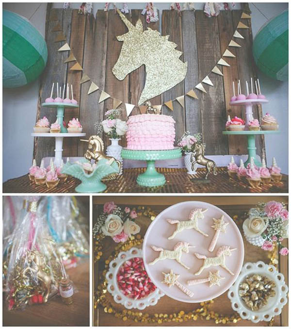Vintage Themed Unicorn Party - See more Rainbow Unicorn Party Ideas on B. Lovely Events