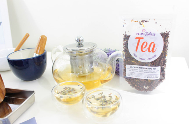 Home Spa Day Tea Party- Self care Herbal tea- Plum Deluxe