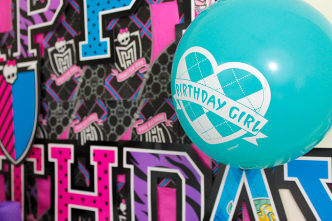 Monster High Party Balloons- See more cute party details on B. Lovely Events