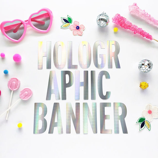 Holographic Party Banner- Love these! - See more iridescent hologram party ideas on B. Lovely Events