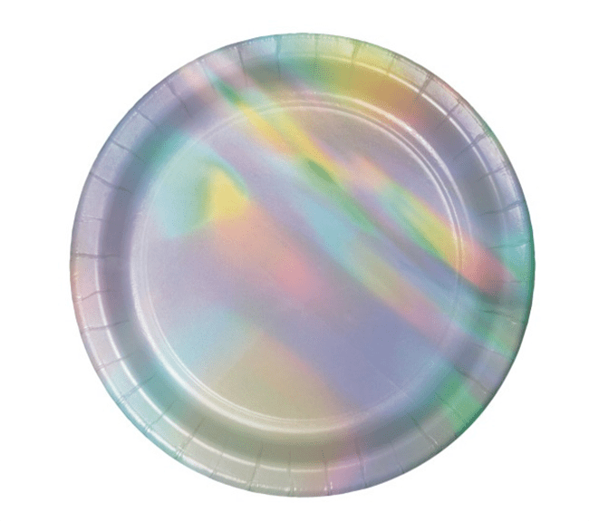 Iridescent Party Plates - See more iridescent hologram party ideas on B. Lovely Events