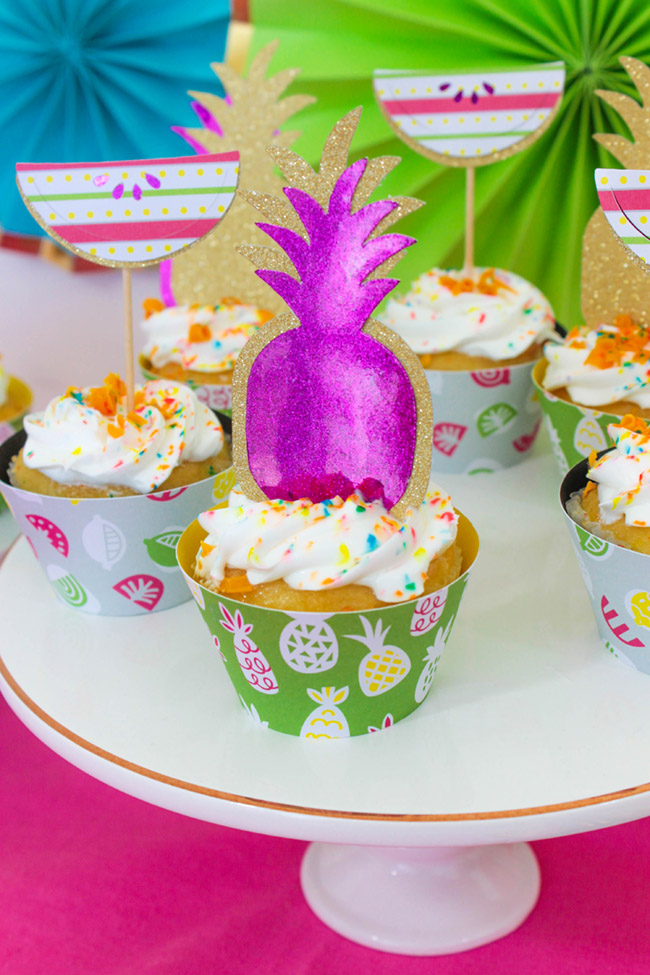 Summer Party Cupcakes DIY With Cricut -B. Lovely Events