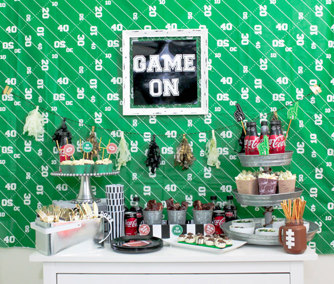 Football party ideas- Love this set up-See more Football party details at B. Lovely Events