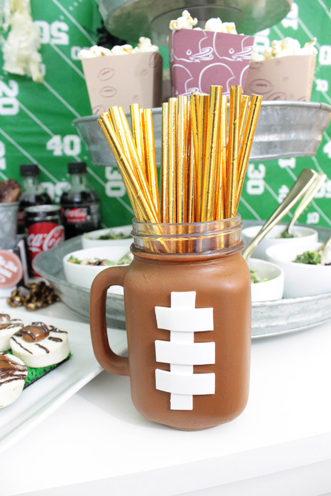 Football party straws-See more Football party details at B. Lovely Events
