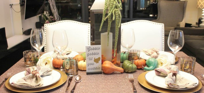 Gobble Gobble, It's a Lovely Rose Gold Thanksgiving Tablescape!