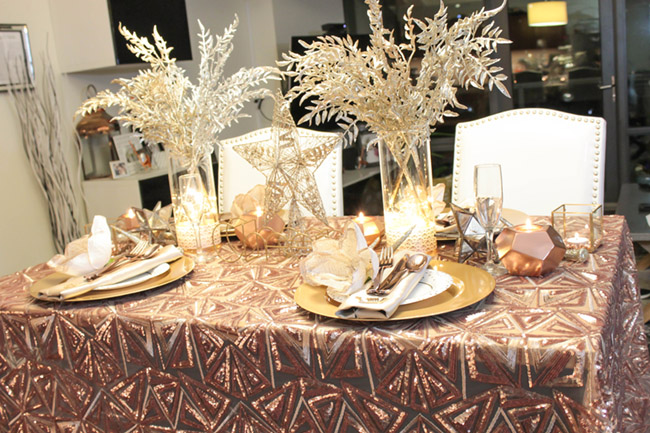 New Year's Eve Tablescape - Love this rose gold linen! - B. Lovely Events