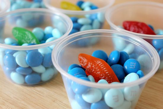 Gummy Fishes candy cups. Great for a pool and beach party!