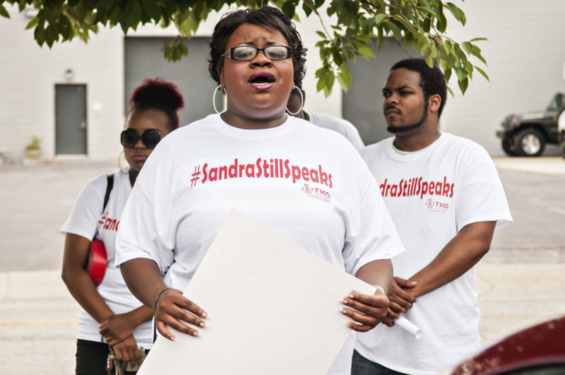 Danielle Brown sings 'Lift Every Voice and Sing' at Sandra Bland demonstration in Bowling Green. Photo Bac Totrong/Daily News