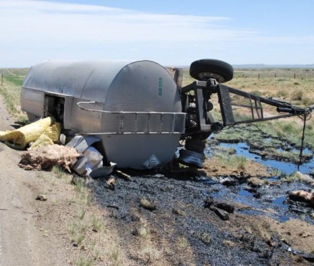 Tanker Rolls Near Medicine Bow Spills Hot Goo