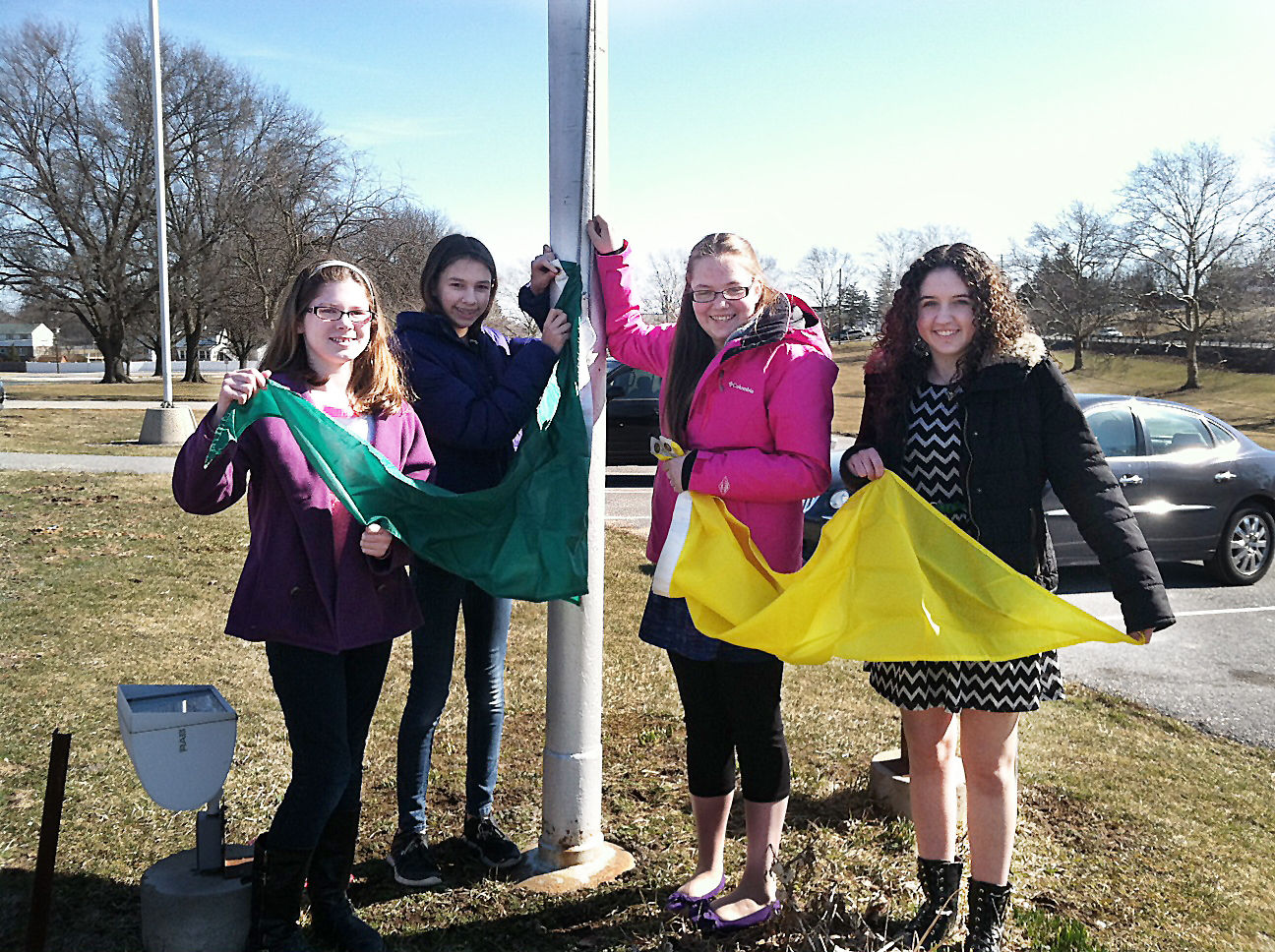 Middle school students start air quality flag program