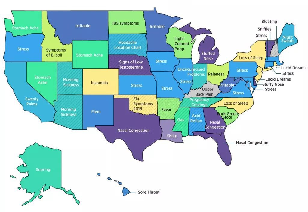 Most googled health symptoms in each state   Lifestyles ...