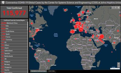 Online map by Johns Hopkins tracks coronavirus cases around the ...