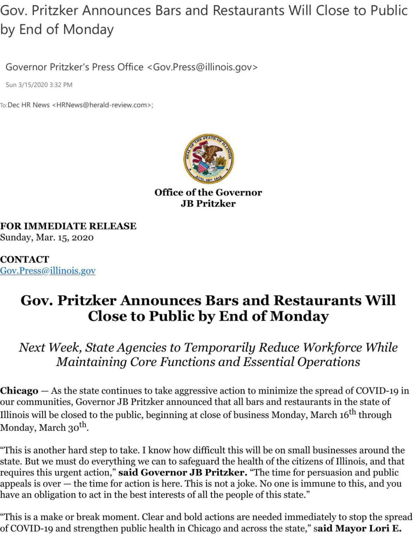 Pritzker: Illinois bars, restaurants ordered closed Monday night ...