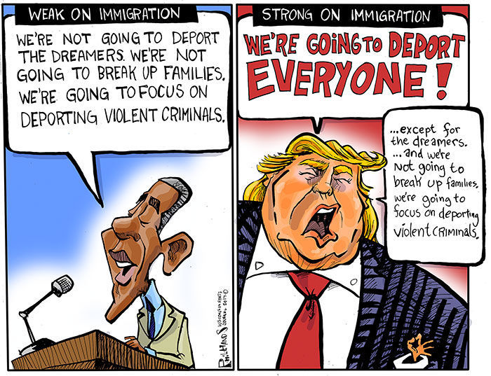 Image result for cartoons on trump on dreamers