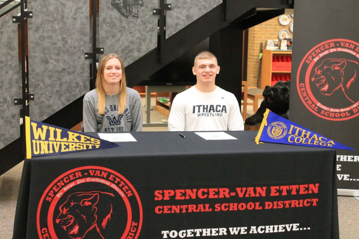 Spencer Van Etten Senior Student-Athletes Jamie Sayre (Left) And Grady  Alpert (Right) Signed Ceremonial National Letters Of Intent To Play Sports  At The