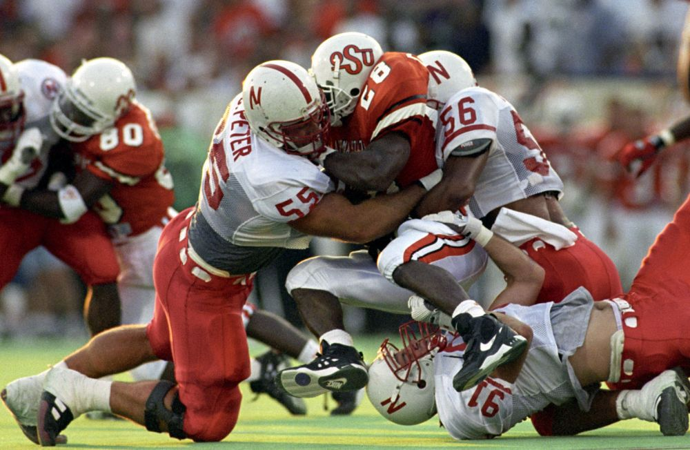 Nebraska Huskers defensive tackle Christian Peter (55 left side) in 1995 opener (Photo was taken by Ted Kirk/Journal Star)