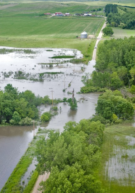 Elkhorn River Reaches Record Flood Levels As It Flows Into