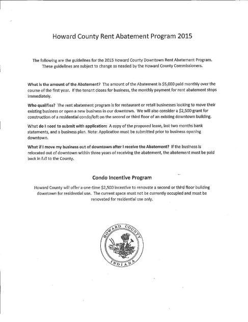 Rent Abatement Program/Condo Incentive Program pg. 1   Local news   kokomotribune.com