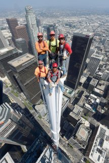 Wilshire Grand Construction Worker On Top Of