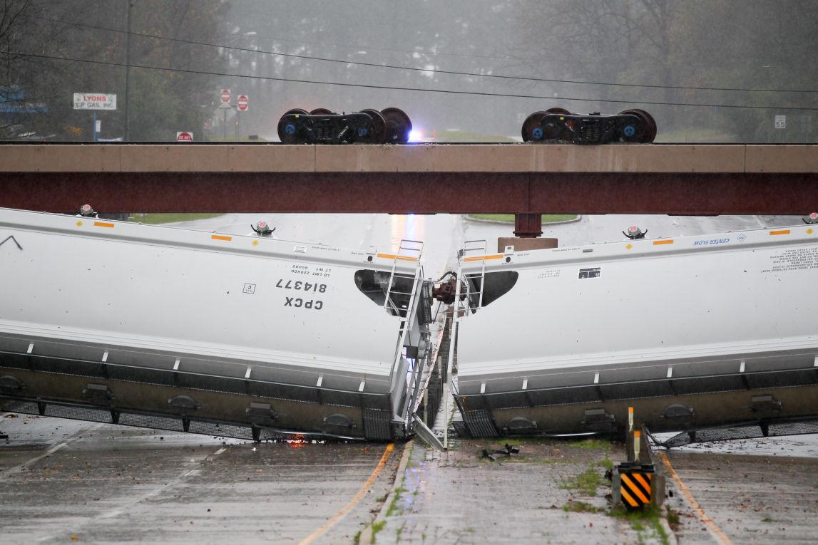 High Winds Blow Train Cars Off Trestle Across Lufkin S