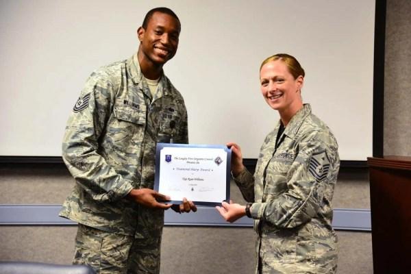 First sergeants recognize Diamond Sharp Airmen Awards