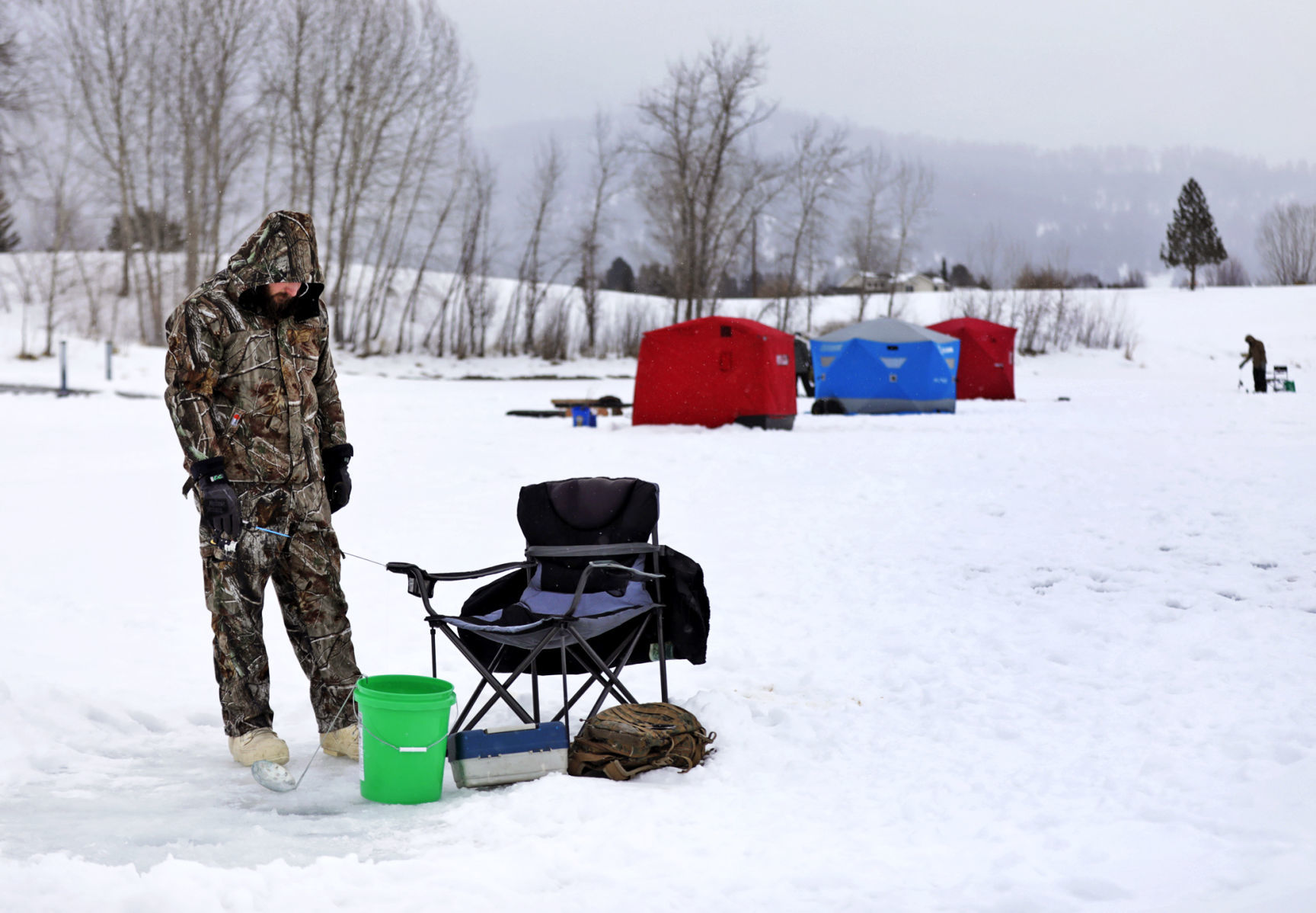 ice fishing lawn chair french cane chairs in frenchtown helps connect veterans local
