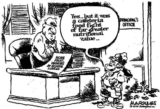 CARTOON: More nutritional lunches at schools, same