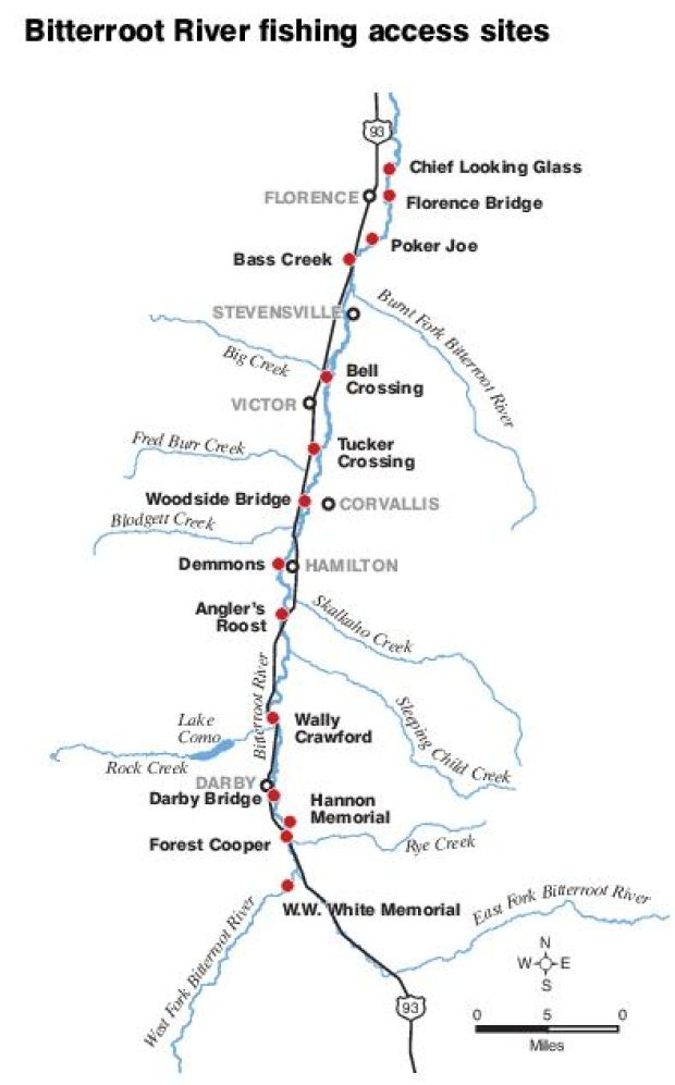 Public fishing access sites on Clark Fork, Bitterroot and