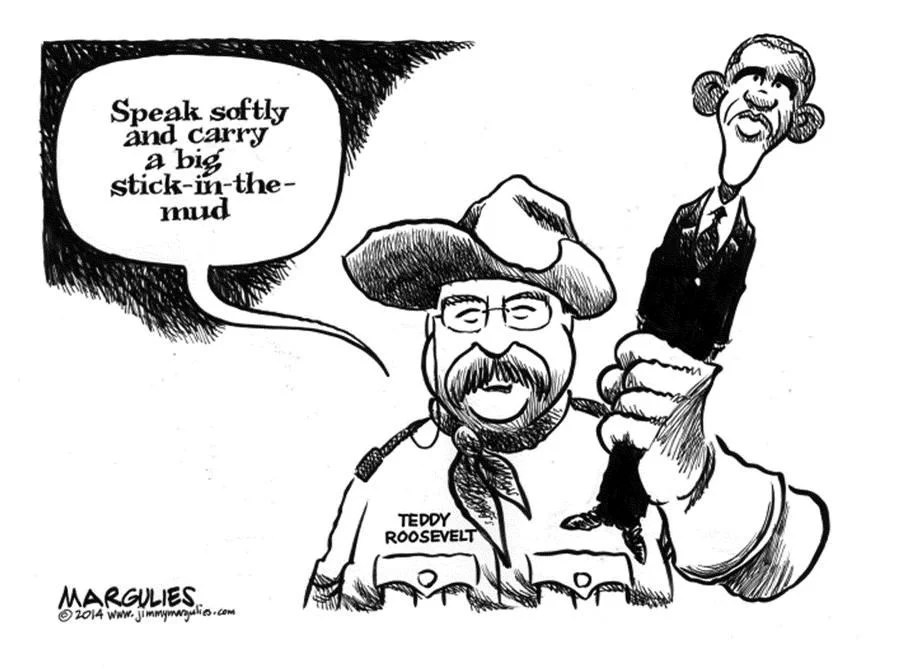 CARTOON Obama Is Stick In The Mud Compared To Teddy