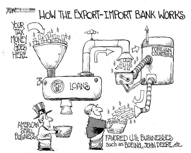 CARTOON: Import-Export Bank works by funneling tax money
