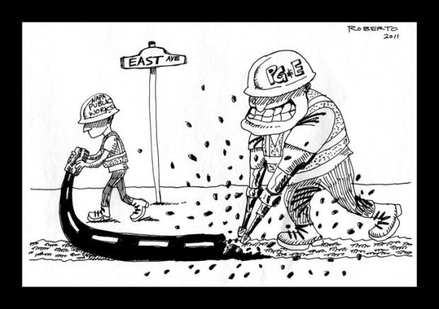 Editorial cartoon: Street paving