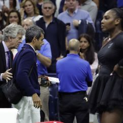 Tennis Umpire Chair Hire Office Black Us Open Final Ramos Gets Croatia Davis Cup Pro Carlos Second From Left Is Lead Off The Court By Referee Brian Earley After Naomi Osaka Defeated Serena Williams Right In Women S