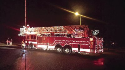 Fire Trucks Decorated For Christmas